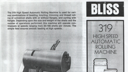 Bliss High Speed Automatic Rolling Machine 319