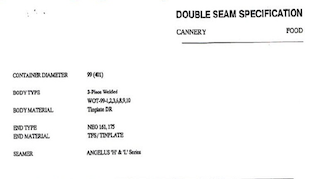 Example 99mm (401) Double Seam Specification Sheet