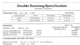 Example 153mm (603) Double Seam Specification Sheet